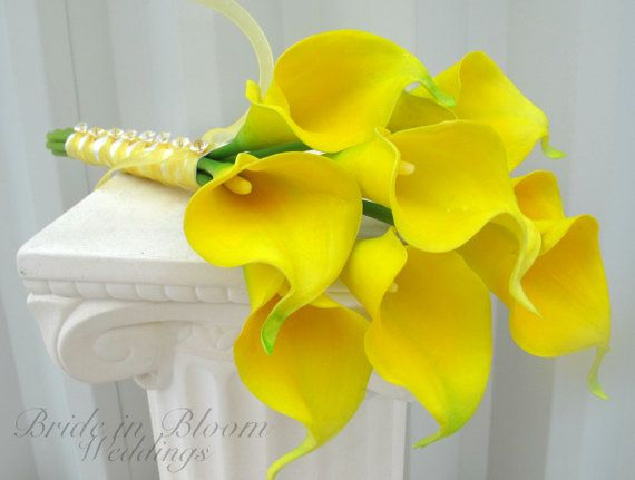 Calla lily Wedding bouquet yellow real touch Bridal bouquet Bridesmaid bouquet