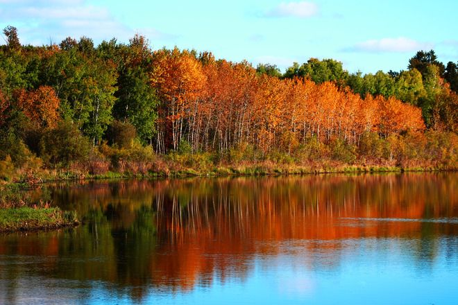 eptember 23, 2013The Pas, Manitoba Canada Date shot: September 13, 2013  The pretty fall colours and reflection from the water..!