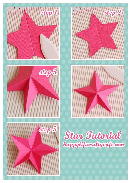 Cut your star the size you want. Once it's 'popped up' it will be about 1/2″ smaller. Star Tutorial (also a cute Card sample too)