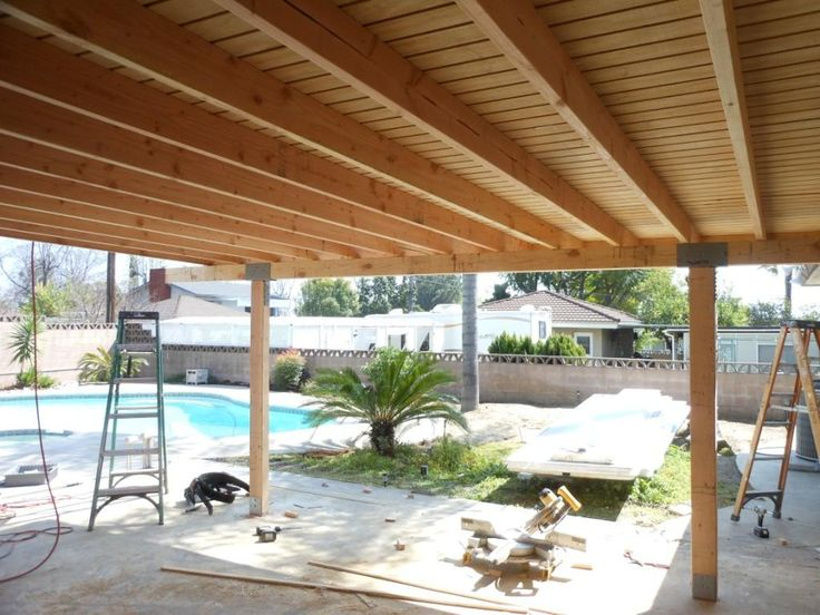 Remodelling Design Of Patio Cover With Wooden Material Ceiling And .