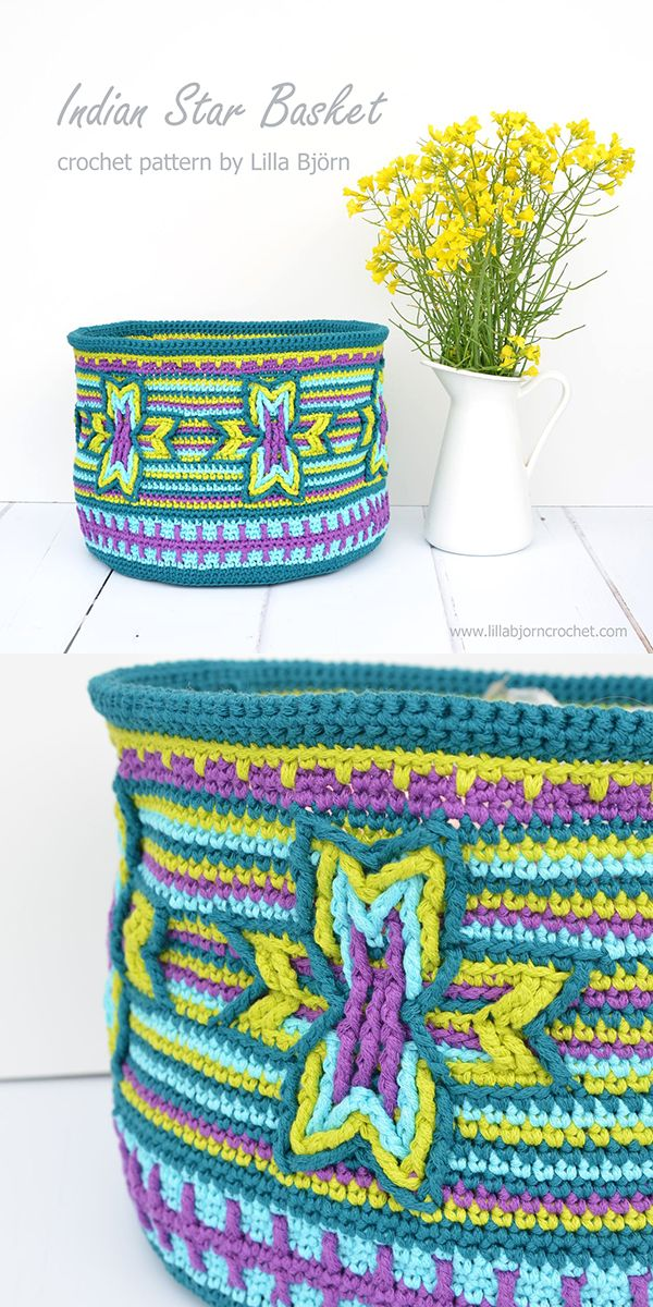 Indian star Basket is made in overlay crochet. The pattern can also be used to make a pillow throw, a pouch or a tote. Designed by lillabjorncrochet.com