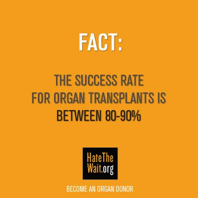 FACT: The success rate for organ transplants is between 80-90%