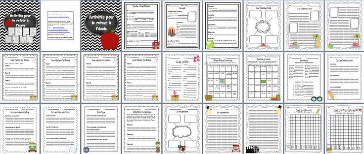 Ce document de 27 pages comprend toute une variété d'activités à faire avec vos élèves pour la rentrée scolaire! Cela vous permettra d'occuper vos premières journées de classe tout en apprenant sur vos élèves.