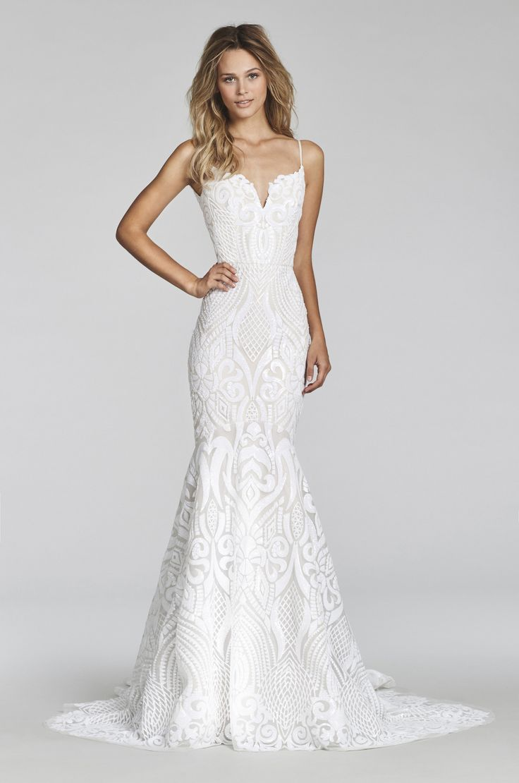 Ivory Marrakesh beaded fit to flare bridal gown, sweetheart neckline with spaghetti straps and low scoop back, elongated bodice with ivory embellishment over cashmere lining and full circular skirt. T