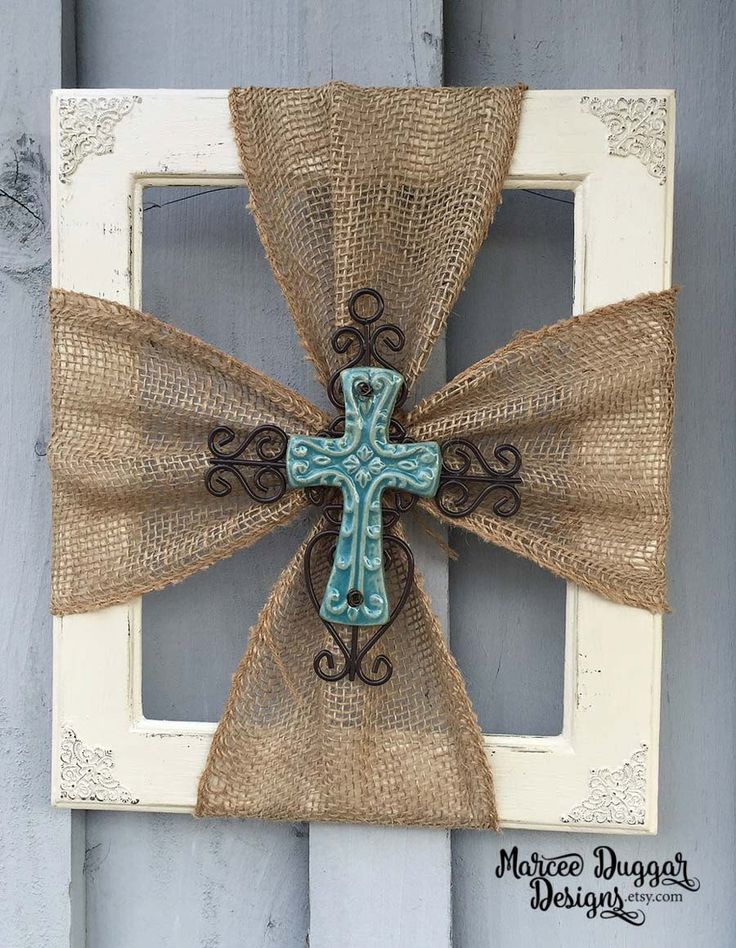 Ceramic Cross | Burlap Trim | Wood Frame | Home Decor | Rustic | Religious | Blue Cross | Faith | #0100 by MarceeDuggarDesigns on Etsy
