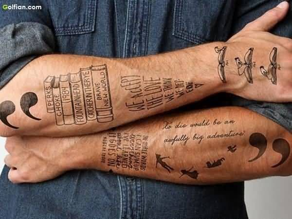 Awesome Black Ink Forearm Quote Tattoo Design For Men