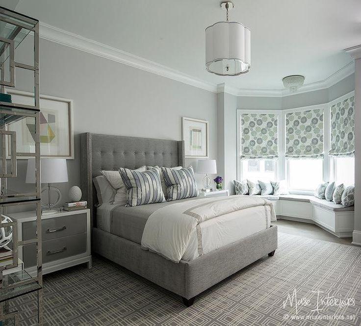 Gray Bedroom with Custom Window Seat in Bay Window