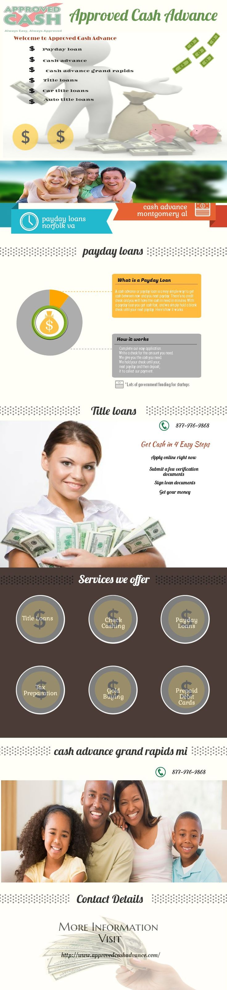 We make loans to customers just like you every day so to get started simply apply online, apply at one of our convenient locations or call 877-976-9868 to get pre-qualified. For a payday loan, all you need to bring is: driver's license, checking account statement, most recent paycheck stub and your personal check. For a title loan, just bring: driver's license, clean & clear car title and your vehicle.