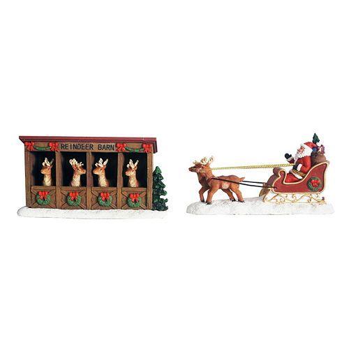 St. Nicholas Square® Village Reindeer Barn and Sleigh