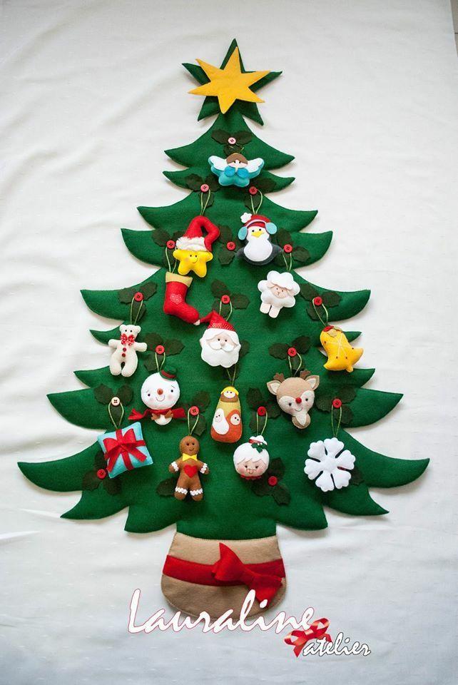 Árvore de Natal em Feltro #lauralineatelier #christmastree #felttree #feltro #arvoredenataldefeltro