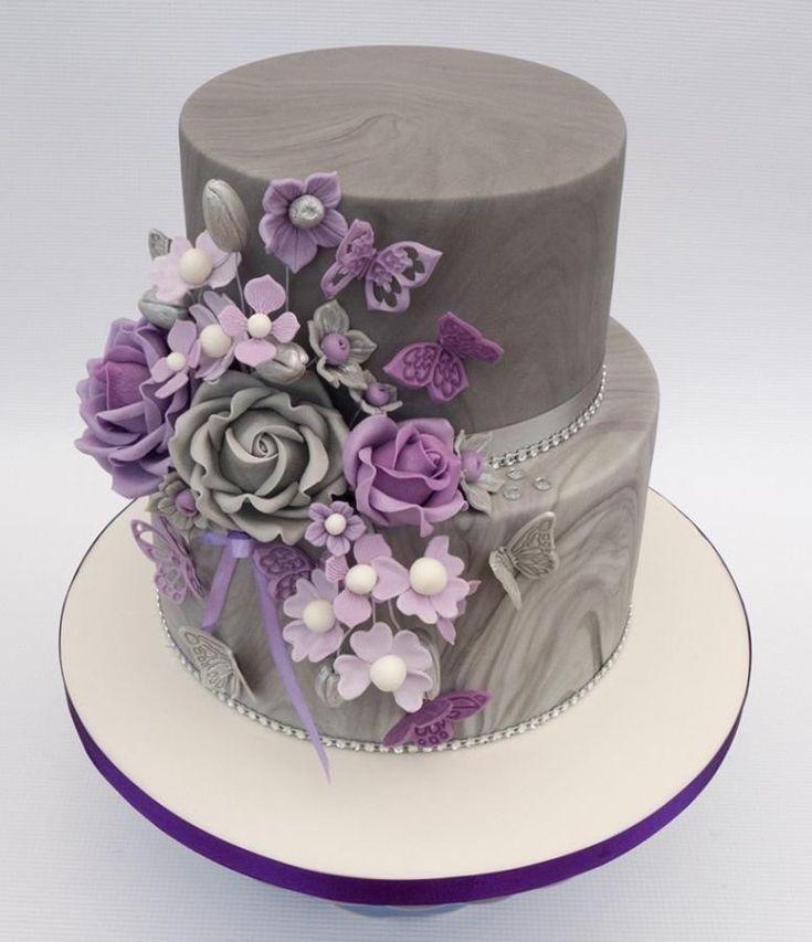Lilac & Grey Birthday Cake. by Lorraine Yarnold