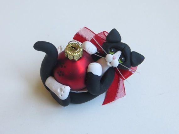Smoking nero gatto natale ornamento Polymer di HeartOfClayGirl