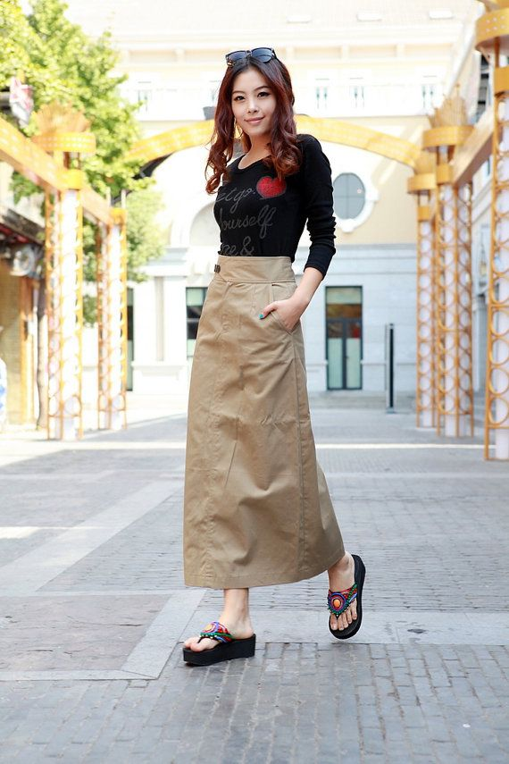 New design linen long skirt in light Brownmore by FashionColours, $58.00