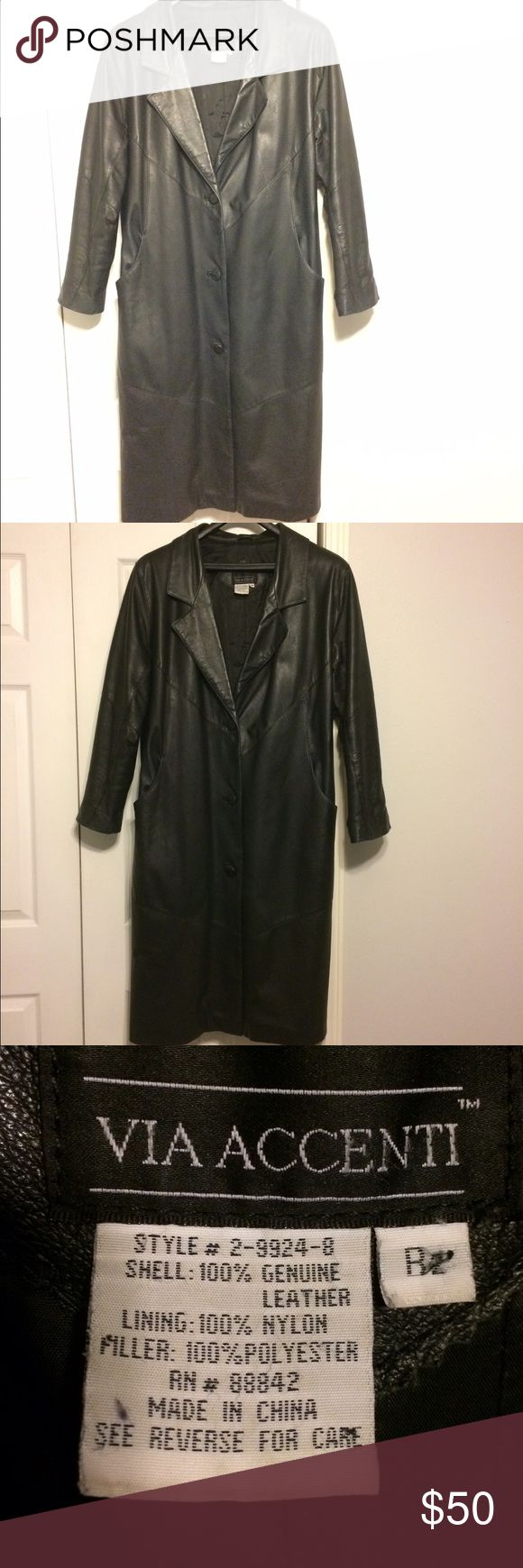 Woman's Leather coat Genuine Leather coat. Back vent (pic 7) Little wear near top front button. (Pic 6) No Tears. Lining in good condition. Via Accenti Jackets & Coats