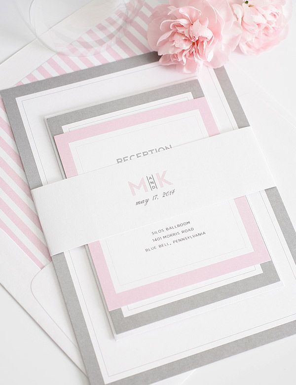 Pink and Gray Wedding Invitations - Need a different color?  These gorgeous bordered wedding invitations are totally customizable and available in tons of gorgeous colors!