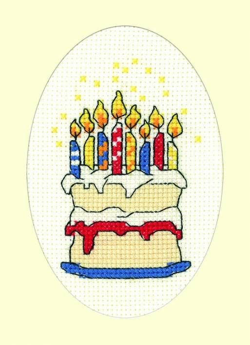 Birthday Cake Cross Stitch Card Kit £6.00 | Past Impressions | Heritage Crafts