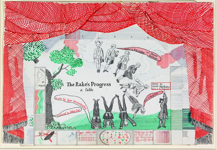 David Hockney (British, b. 1937), Drop curtain for The Rake's Progress, 1975-1979. Ink and collage on cardboard, 14 x 20 ½ in.