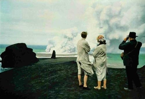 Volcanic eruption in the Azores archipelago.    Portugal, 1957.