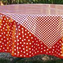 image of Red Gingham 70 Inch Round Tablecloth