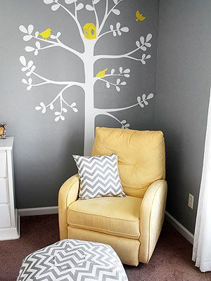 Paint the tree then use vinyl for any colour birds you like.