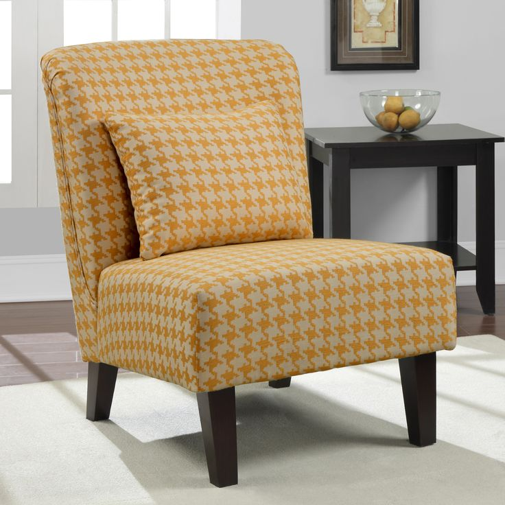 This Lovely Chair Includes A Matching Pillow And Features An Espresso  Finish And Houndstooth Fabric In