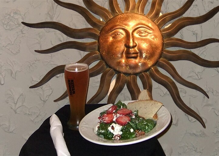 Fresh strawberry and spinach salad with candied walnuts, goatcheese and our house raspberry vinaigrette.  $11 add ckicken or black tiger prawns for an additional $6