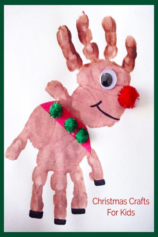 DIY Weihnachten Basteln und Bastelprojekte für Kinder – Handabdruck Rentierfing…