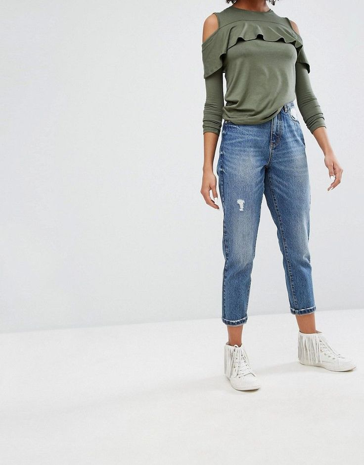 Only Mom Distressed Mom Jean - Blue