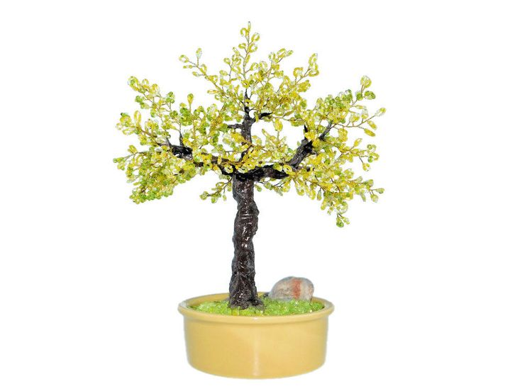 25cm Beaded Acacia Bonsai in Yellow Ceramic Pot. Blooming Yellow Locust Tree. Oriental Handmade Feng Shui Bonsai Tree. Artificial Bonsai by BeadedGardenCanada on Etsy