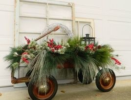 Little red wagon outdoor Christmas decorations