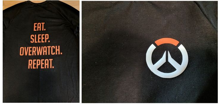 Overwatch shirt for Bjørn, pattern from Ottobre, words&logo cut on the Silhouette.