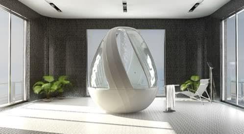 Egg es un concepto para la firma Roca, una ducha que tiene forma de huevo, bañera hidromasaje, spa, ducha de lluvia. Luz ambiental.