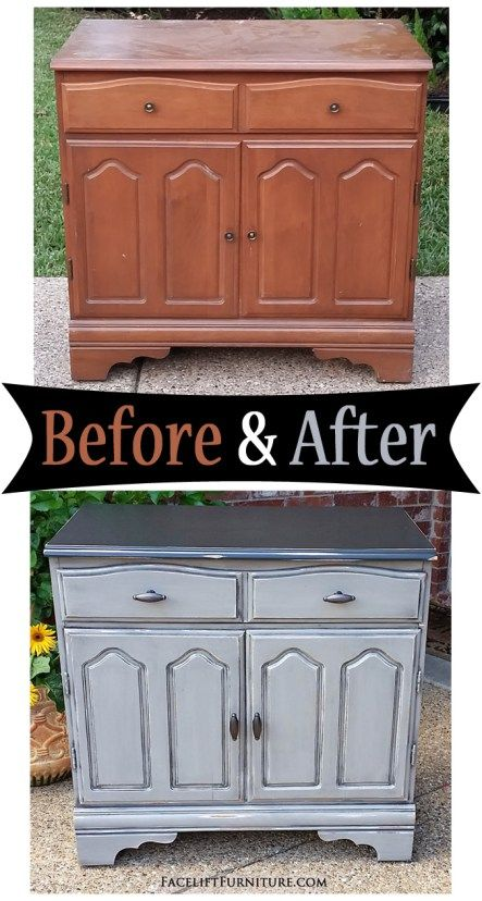 Old Maple Cabinet in distressed Black and Aspen Grey - Before & After from Facelift Furniture