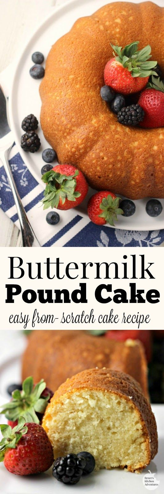 Buttermilk Pound Cake | by Renee's Kitchen Adventures - easy recipe for a made from scratch vanilla buttermilk pound cake perfect for dessert or snacks #SundaySupper