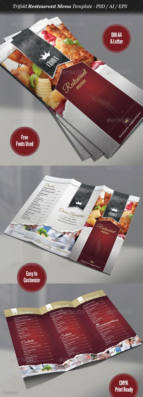 Trifold Restaurant Menu Template - GraphicRiver Item for Sale