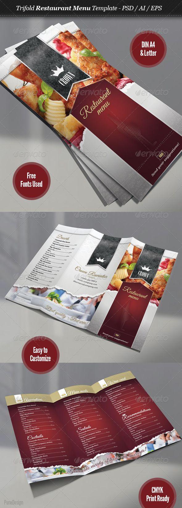 24 best menu design images on pinterest editorial design print templates trifold restaurant menu template graphicriver pronofoot35fo Choice Image