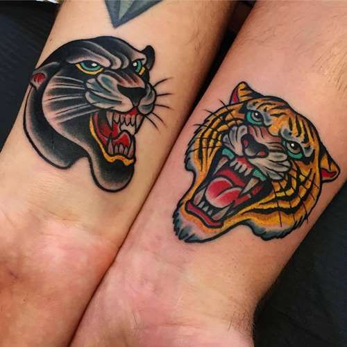 Panther And Tiger Tattoos Tattoo Shortlist Sleeve Tattoos Traditional Tiger Tattoo Traditional Tattoo