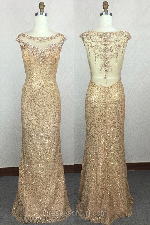 Gold Prom Dresses, Sequined Prom Dress, Open Back Evening Dresses, Column Party Dresses, Long Formal Dresses