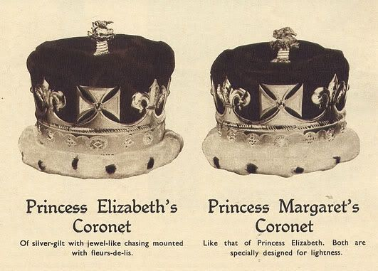 Crowns and Coronets of the Coronation of King George VI  Top: Imperial State Crown  Middle left: Queen Mary's Crown  Middle right: Queen Elizabeth's Crown  Bottom: Princesses Elizabeth & Margaret's Coronets