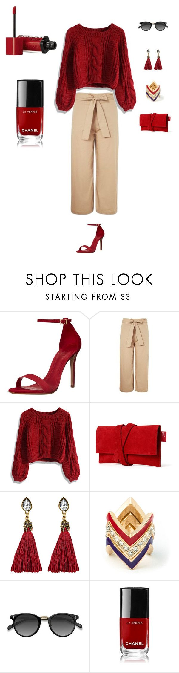 """""""Casual pop of red"""" by thefemininepursuit on Polyvore featuring Schutz, Topshop, Chicwish, JustFab, Ace, Chanel, Bourjois, casual, Color and red"""