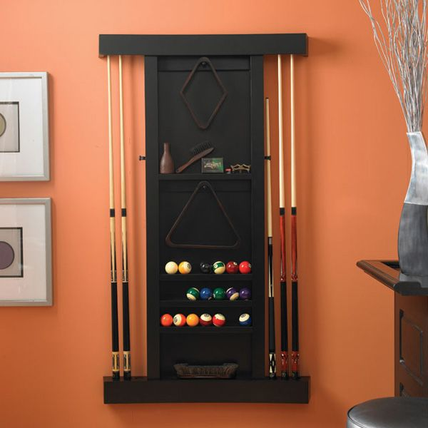 billiards accessory wall storage | Lunar Pool Table Accessory Rack by American Heritage | Family Leisure