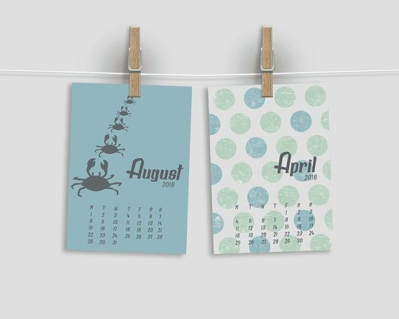 2016 Calendar, Dots & Animals by 2eggsProject, Desk Calendar, Monthly Calendar, 12 Months, INSTANT DOWNLOAD.  This listing is for an INSTANT