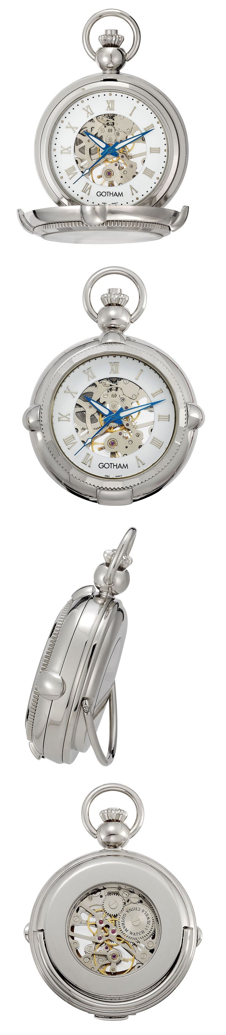 Other Pocket Watches 398: Gotham Mens Silver-Tone Photo Insert Skeleton Pocket Watch With Built-In Stand BUY IT NOW ONLY: $99.95