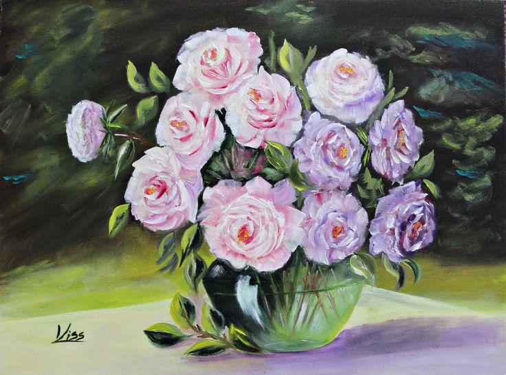 Rózsák zöld vázában. olaj, farost, 30x40