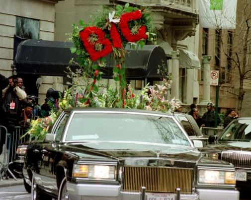 Biggie in Casket Funeral Pics | The lead flower car for the funeral procession of rapper Notorious B.I ...