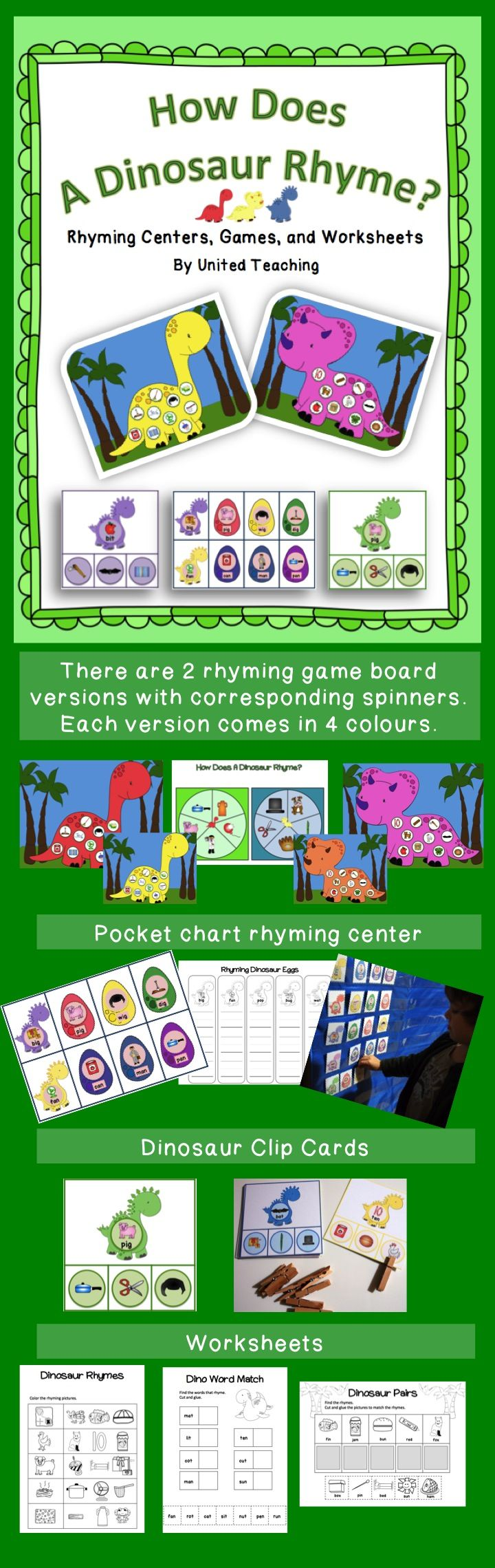 How Does a Dinosaur Rhyme >> United Teaching >> Teach and Reinforce Rhyming Skills with fun learning centers, games, and worksheets >> Common Core: CCSS.ELA-Literacy.RF.K.2a Recognize and produce rhyming words.