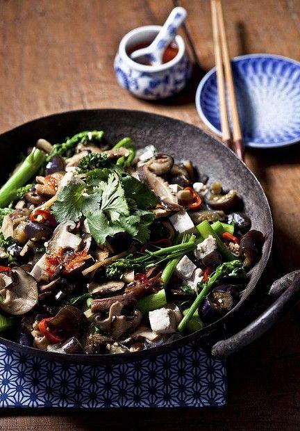 Jill Dupleix's mushroom and tofu with bean thread noodles. Photo: Marina Oliphant