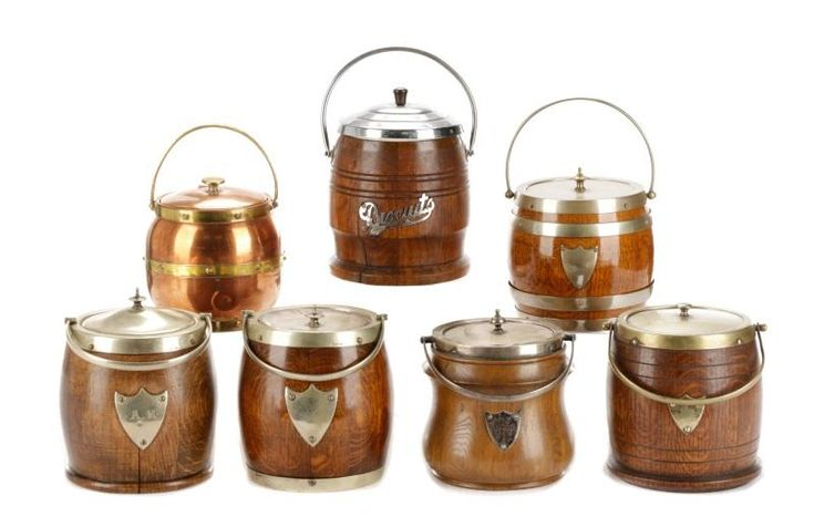 Group of 7 English Biscuit Barrels, Oak and Copper - Price Estimate: $300 - $500