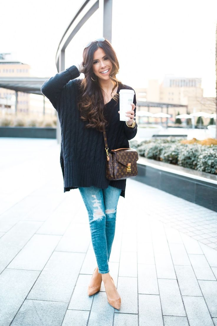 AG jeans ankle skinny, free people oversized cable knit sweater, manolo blahnik suede tan pumps, louis vuitton pochette metis, michael kors watch with black face, winter fashion pinterest, winter outfit idea pinterest, henri bendel engagement ring, david yurman bracelet stack