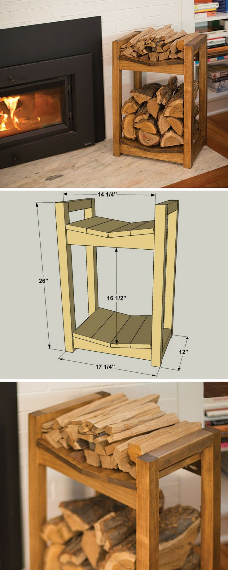 DIY Firewood Storage Rack | Free printable plans on buildsomething.com | Keep your fireplace stocked with this firewood storage rack. The lower area holds your fire logs securely, while the upper area is a great place for keeping kindling. You can build one in just a couple of hours using four boards, a miter saw (or circular saw), a jigsaw, a drill, and a Kreg Jig.
